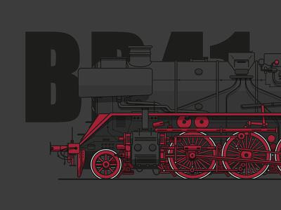 BR41 locomotive steamlocomotive typography illustration