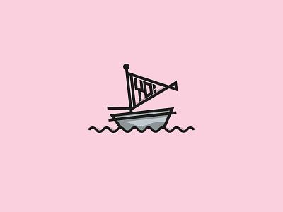 SAILING SHIP typography branding sailingship custom type ship waves linesart justyo boat