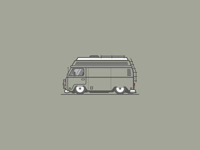 VW T2 retro car bus branding t2 volkswagen linesart illustration