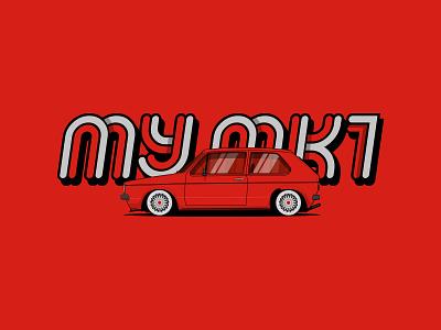 MY MK1 car illustration golf1 volkswagen golf typography custom type illustration mk1