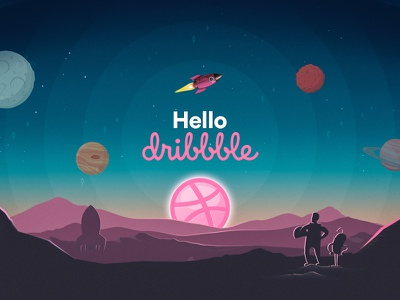 Hello Dribbble thanks invation invite planets stars space moon illustration first shot hello dribble