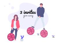 3 dribbble invites