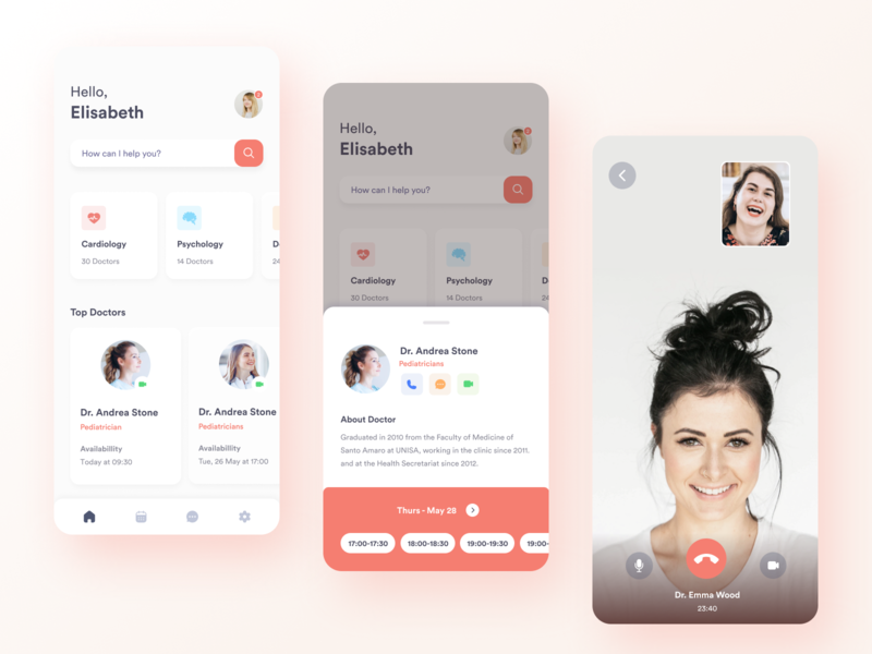 Telemedicine Concept App figma pastel colors interface brazil mobile schedule conference medicine app clean telemedicine card pastel design ui