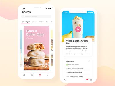 Desserts App - concept mobile brazil design ux minimal clean ui iphonex food desserts card app