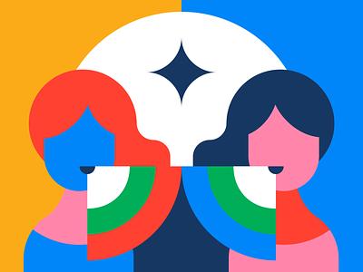 The One True Voice Spell voice duo dialogue wavy satisfying geometric hands magic pixel bauhaus google conversation colorful illustration mystical spritual tarot