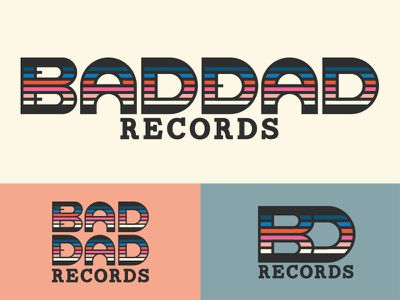 Bad Dad Records Branding colorful vintage 80s record label custom letterforms typography records logo