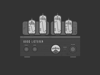 Good Listener Tube Amp Illustration vintage t shirt grayscale illustration tube amp good listener