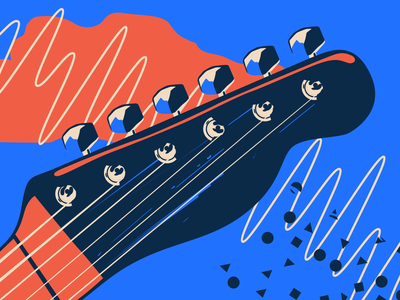 Guitar Head music festival music patterns colorful guitar telecaster fender vector illustration