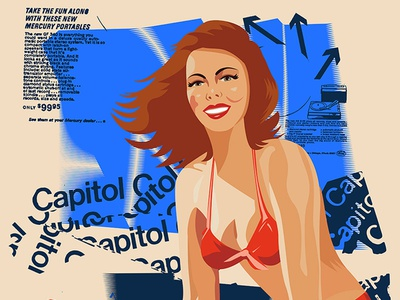 Capitol Pinup retro vintage messy clean redhead capitol records typography pin up illustration