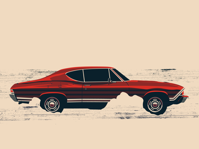 Chevelle muscle old school vintage slick illustration smoke desert car red speeding fast speed chevelle