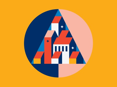 Geometric Town bauhaus satisfying structure geometric colorful architecture