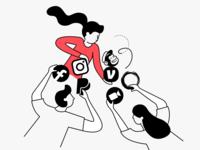 Too many tools branding vector-based people illustraion
