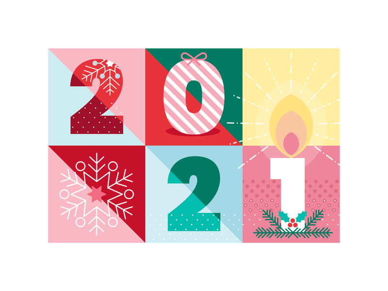 Happy Healthy 2021 🥂 vector-based holly snowflake candle christmas xmas numbers illustration new year 2021