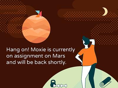 Assignment on Mars milky way fitness moon night sky mars vector illustration illustration down for maintenance