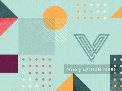 V newsletter header illustration dots circles concentric v brandon grotesque