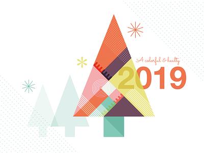 A Colorful 2019! geometic vector-based xmas tree xmas card illustration