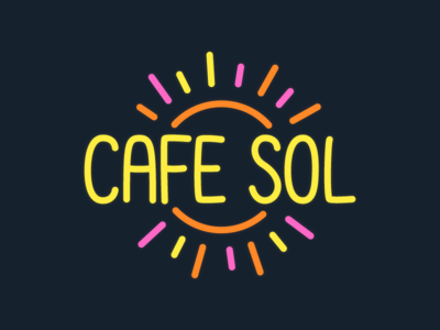 Cafe Sol lettering sol sun neon