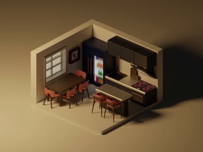 low poly kitchen cube game art 3d motion graphics