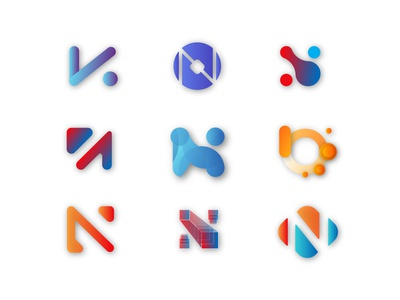 logo collection N gradient illustrator branding logo graphic design