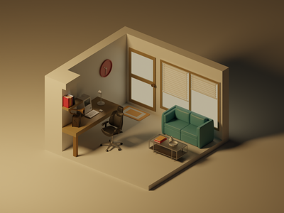 Home Office render graphic design illustration blender 3d motion graphics