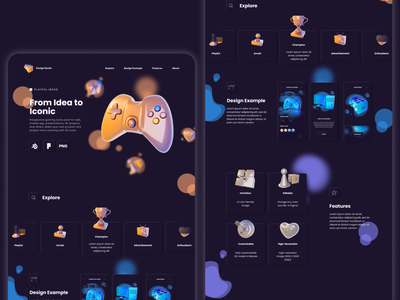 3D Gaming Icon Design Example graphic design illustration 3d web design ui