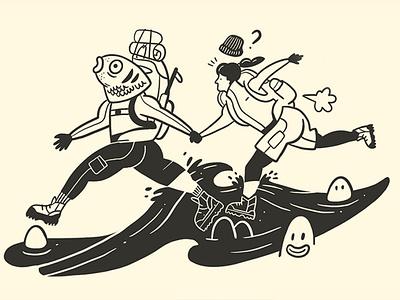 FJÄLLRÄVEN -Classic monocrome fjallraven adventure hike ipadpro procreate illustraion