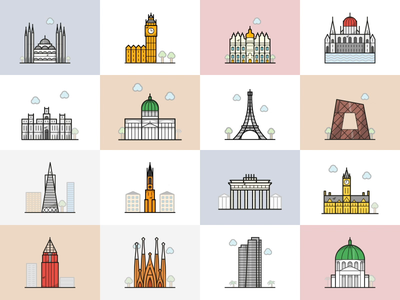 Hello City Kit illustration icon icons berlin paris los angeles london new york cities city design ui app after effect animation ae