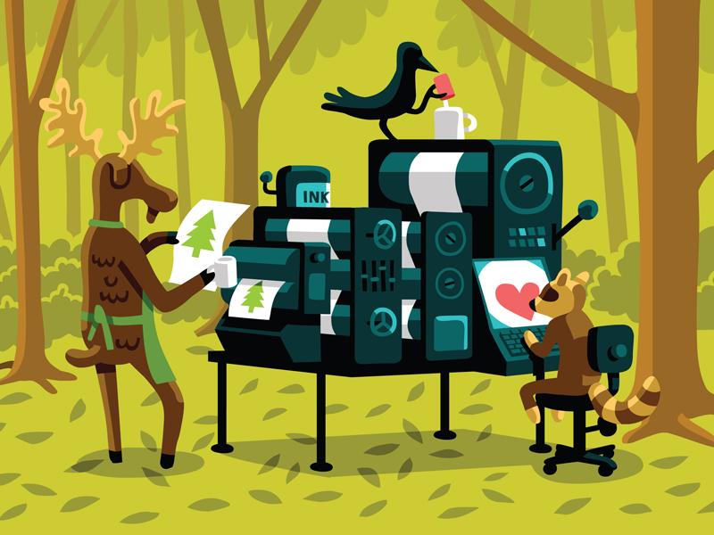 Green Printer animals. character advertising illustration vector