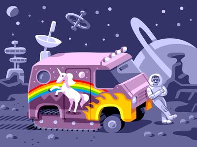 Usbek & Rica: Groovy Future sci fi space vector illustration