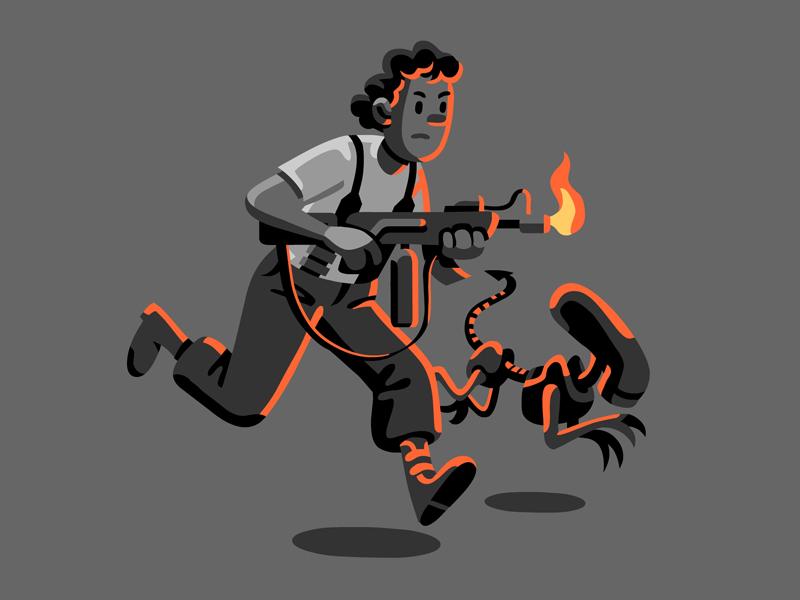 Adventures of Ripley tintin aliens ripley character vector illustration