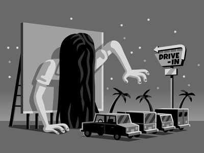 Attack of the 50 ft. Ring Girl movies the ring black  white illustration vector