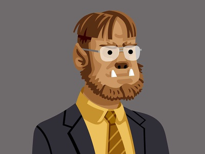 The Wolfman getting ready for Halloween. theoffice dwight wolfman halloween vectober
