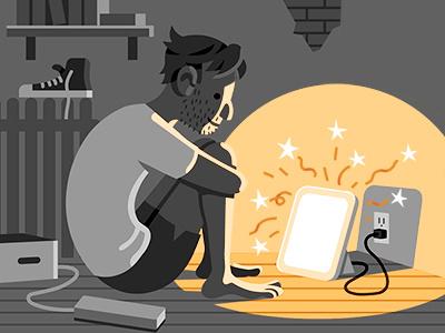 New Yorker: SAD Lamp FAQ new yorker vector illustration