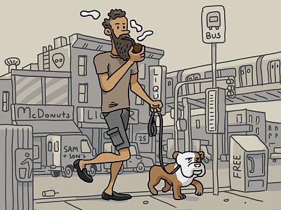 Cargo Shorts, Bulldog & Full Bent Billiard Pipe photoshop doodle