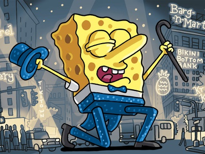 The New Yorker - Spongebob on Broadway spongebob illustration