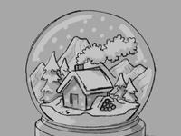 Snow globe sketch instagram