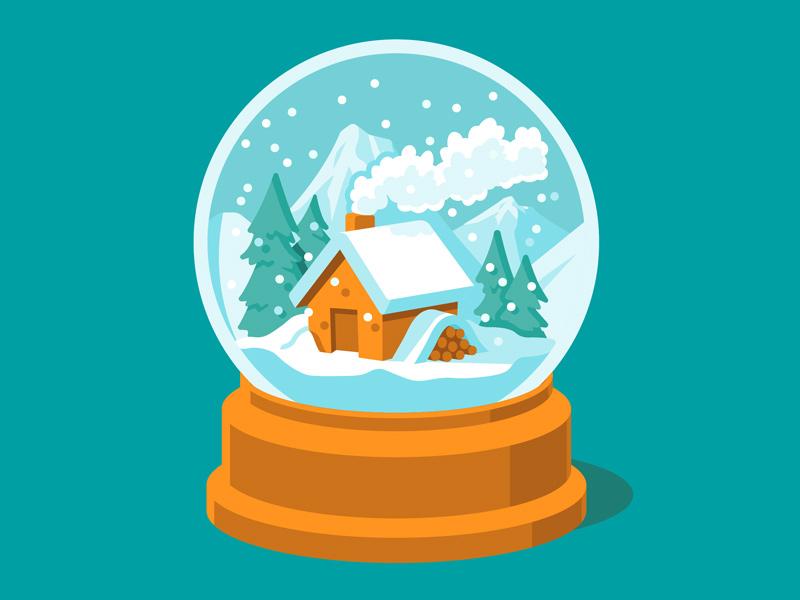 Google Play Music - Snow Globe snowglobe christmas winter google design illustration vector