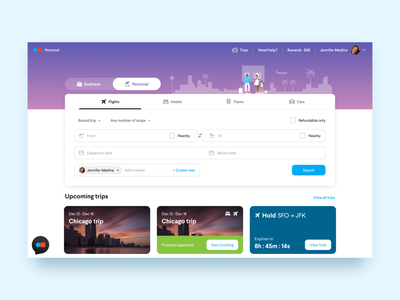 TripActions Homepage homepage travel app redesign travel