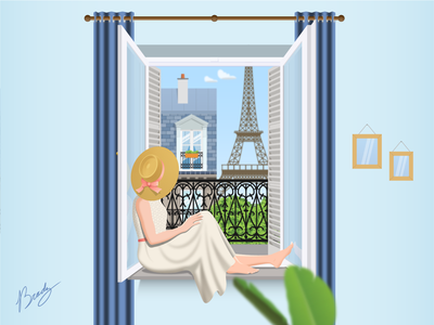 Through the Window Paris day person french tower france home relaxing summer curtains balcony wonder eiffeltower eiffel looking illustration window paris