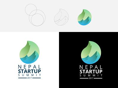 Leaf + Mountain Logomark plant logomark summit startup nepal mountain leaf