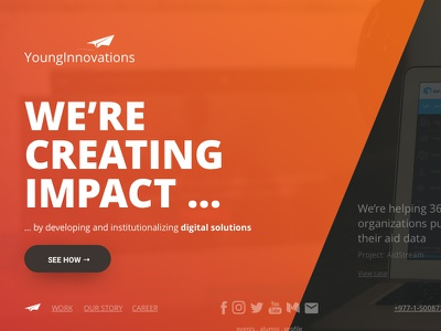 YoungInnovations split screen orange web agency homepage landing page website