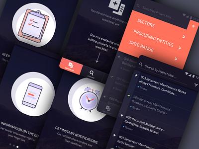 Tender Alert android react native mobile app filters onboarding list tender