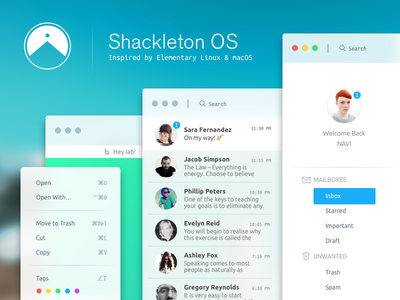 Shackleton OS ux ui osx mail icons gui email desktop clean browser linux apple