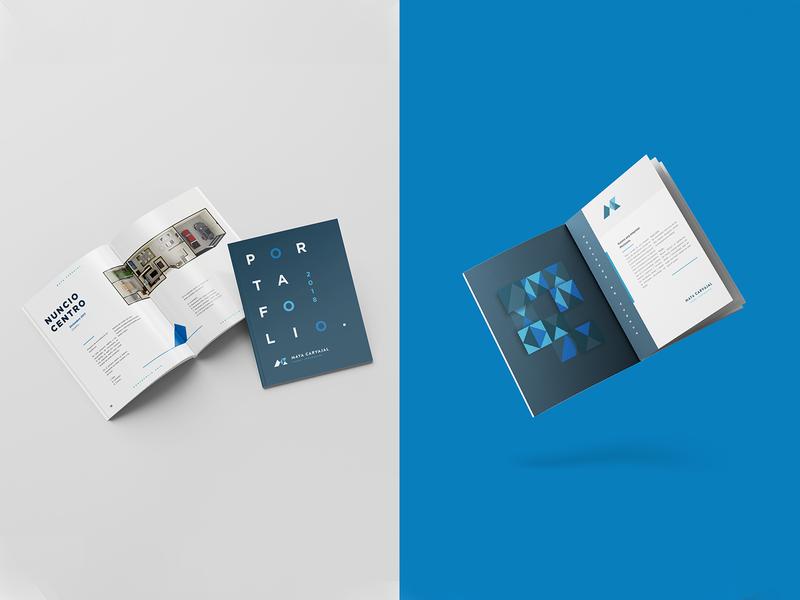 MC Portfolio mexico mty monterrey blue geometric pattern branding identity mockup book architecture portfolio editorial design