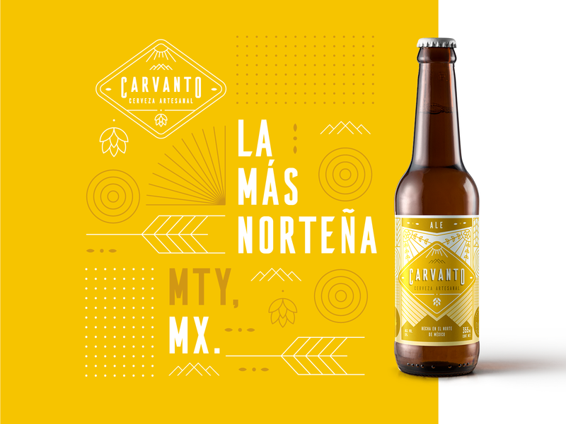 Carvanto Label - Ale mty mexico monterrey identity bottles pattern hill mountain artesanal cerveza craftbeer craft beer packaging label branding brand logo