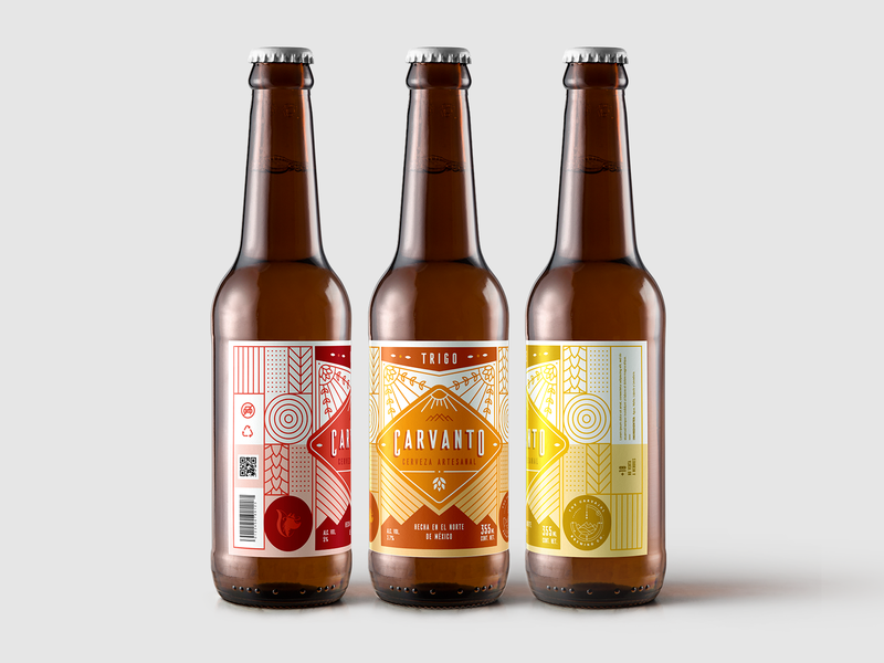 Carvanto Label illustration sun icon pattern monterrey mexico logo mountain identity hill cerveza branding brand craftbeer bottles packaging label craft beer craft artesanal