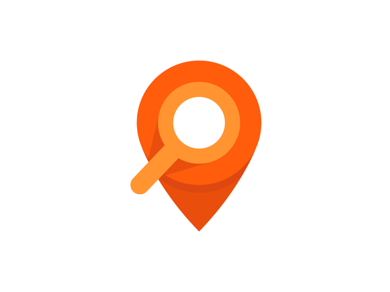 Location Symbol circle logo symbol search pin orange lens app where location