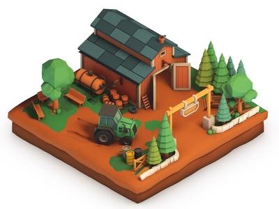 Farm Life vol.1 building c4d 3d illustration isometric cinema 4d lowpoly