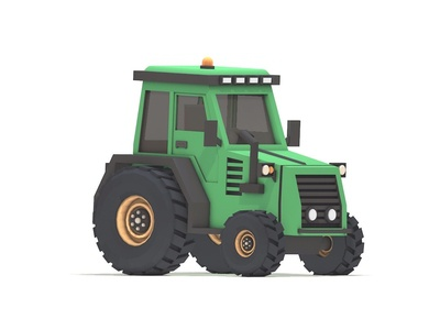 Lowpoly Tractor clay render illustration design debut cinema 4d farm building truck vehicle c4d lowpoly 3d