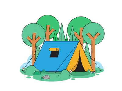 Let's go camping! tree forest tent camping illustration